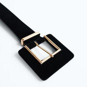 NWT Zara Velvet Belt w/ Squared Buckle